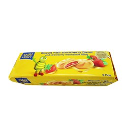 بیسکویت با طعم توت فرنگی و مغزی مارمالاد ویتانا لاکی 125 گرمی