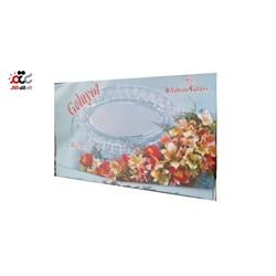 دیس شیشه ای بزرگ شیشه و بلور اصفهان مدل گلایل مجموعه 2 عددی
