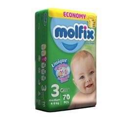 پوشک کودک اقتصادی مولفیکس سایز 3 بسته 70 عددی