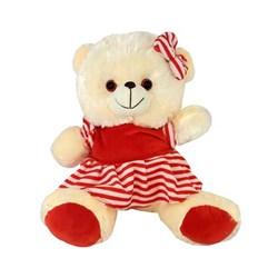 عروسک خرس سفید لباس راه راه