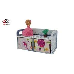 جا جواهری چوبی کشویی مدل عروسک باربی کد 100