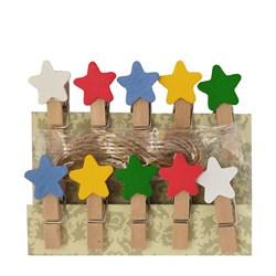 گیره چوبی فانتزی مدل ستاره رنگی 10 عددی کد 241