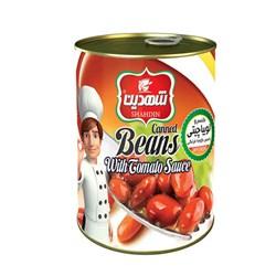 کنسرو لوبیا چیتی با سس گوجه فرنگی شهدین 370 گرمی