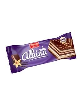 کیک لایه ای با طعم کرم کاکائو و وانیل آلبینا شیرین عسل 45 گرمی