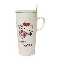 ماگ بلند درب دار  قاشق دار مدل Hello Kitty