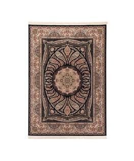 فرش ماشینی دنیای فرش طرح آرزو رنگ زمینه سرمه ای