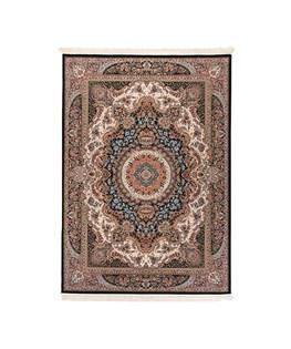 فرش ماشینی دنیای فرش طرح برکت رنگ زمینه سرمه ای