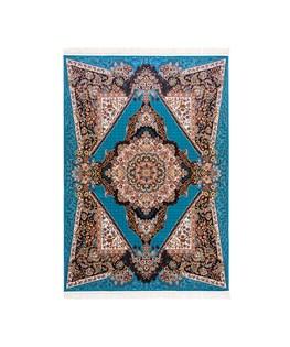 فرش ماشینی دنیای فرش طرح هلن رنگ زمینه آبی