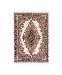 فرش ماشینی دنیای فرش طرح نگار  رنگ زمینه ی کرم