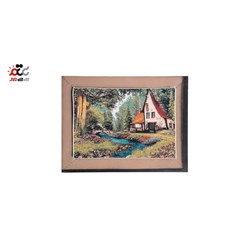 تابلو فرش ماشینی دنیای فرش طرح خانه جنگلی کد 159