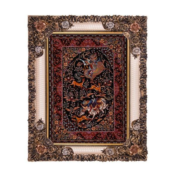 تابلو فرش ماشینی دنیای فرش طرح شکارگاه دستباف قم کد301