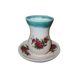 فنجان و نعلبکی سفالی طرح گل سرخی کد 016
