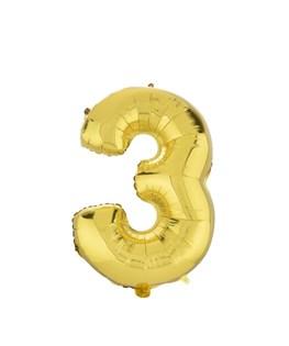 بادکنک فویلی عدد 3 طلایی 32 اینچی