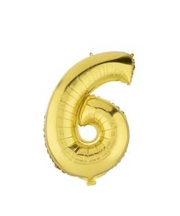 بادکنک فویلی عدد 6 طلایی 32 اینچی