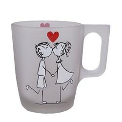 لیوان شیشه ای دسته دار طرح بوسه عاشقانه کد 010