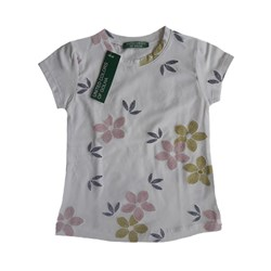 تی شرت تک دخترانه طرح گل چاپی